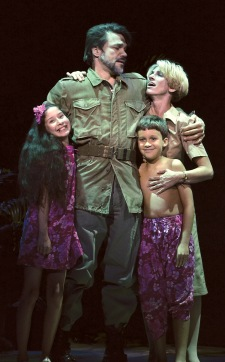 Emile de Becque (Robert Wilde) with Nellie (Deb Wims) and his children Ngana (Anjali Rooney) and Jerome (Ian Gamble) in Beef & Boards' production of