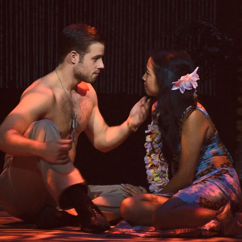 "Lt. Cable (Mickey Rafalski) sings ""Younger Than Springtime"" to Liat (Arianne Villareal) in Beef & Boards' production of"