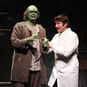 """From left: B.J. Bovin (The Monster) and Steve Kruze (Frederick) in a scene from Civic Theatre's production of """"Young Frankenstein"""""""